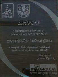 Focus Mall  zwyciężył w konkursie Zielona Góra bez Barier 2011